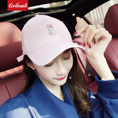【限时秒杀】Coolmuch棒球帽四季百搭甜美比心鸭舌帽夏季女士韩版街头风遮阳帽CMMZ002 每日0点准时开抢