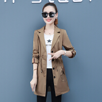 风衣 女士西装领抽身系带中长款风衣2020年秋季新款韩版时尚潮流女式修身洋气女装外套
