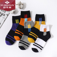 俞兆林 袜子 男士中筒袜SPORT运动休闲男袜五色五双装