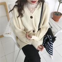 韩版早春款气质V领毛衣开衫学生纯色百搭外套针织衫上衣女