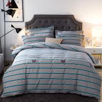 【官方旗舰店】全棉加厚磨毛四件套100%纯棉家纺床单被套1.8m床上用品宿舍三件套
