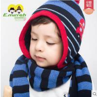 帽子 围巾两件套 针织帽 男女宝宝套头护耳帽 男女宝宝儿童帽子围巾两件套小汽车提花套装