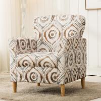 单人沙发布艺北欧客厅沙发美式老虎椅复古沙发电脑椅咖啡厅沙发椅 深灰大圈 布