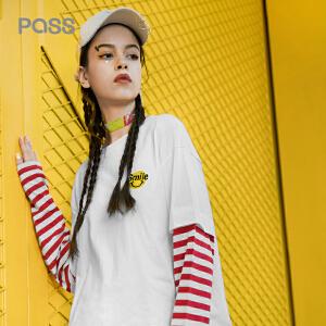 PASS2018新款打底衫女条纹拼接袖子长袖t恤宽松心机上衣设计感潮
