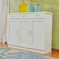 欧式三门鞋柜门厅柜玄关美式两门白色纯全实木多功能1.2米0.8 组装