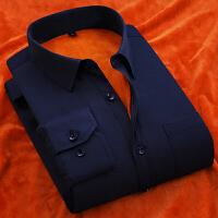 秋冬加绒加厚保暖长袖衬衫男士工装纯色保暖衬衫