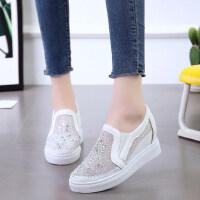 韩版透气运动乐福鞋水钻松紧带单鞋内增高休闲网面鞋女鞋