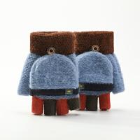儿童手套秋冬季翻盖半指男女童可爱卡通露指毛线针织加厚保暖宝宝半指手套