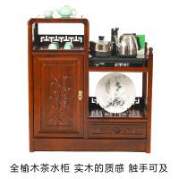 茶水柜酒水柜客厅储物收纳柜实木中式茶柜餐边柜老榆木纯净水桶柜 单门