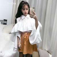 白色荷叶边露肩衬衫女长袖宽松不规则喇叭袖上衣2018新款韩版春款 白色 均码