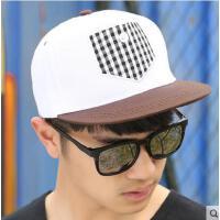 嘻哈棒球帽 女韩版潮网红同款时尚户外运动新品街舞鸭舌帽 男士格纹平沿帽