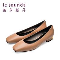 【顺丰包邮,大牌价:375】莱尔斯丹 春夏新款低跟浅口方头奶奶鞋女单鞋 9T25022