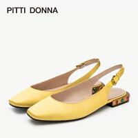 【顺丰包邮,大牌价:269】PITTI DONNA方头包头低平跟一字带女凉鞋 9M17802