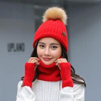 时尚护耳帽子围巾手套三件套加厚保暖毛线帽子女冬天韩版百搭针织帽潮