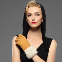秋冬季绒保暖羊皮毛一体手套羊毛滑雪时尚手套女