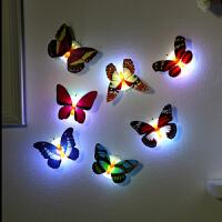 3d立体夜光蝴蝶墙贴女生软妹房间装饰壁纸自粘室内背景墙上小饰品 中