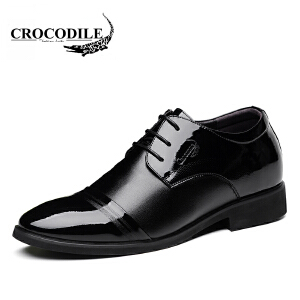 鳄鱼恤皮鞋系带商务正装鞋增高鞋内增高婚鞋舒适男鞋