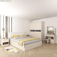 现代简约卧室全套家具床衣柜梳妆台组合婚房大小户型主卧成套家私 2门
