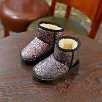 儿童雪地靴2018冬韩版碎晶女童靴子公主鞋短靴中筒靴宝宝鞋男童鞋