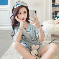 2018新款韩版学生睡衣丝滑女夏季短袖可爱和服宽松家居服两件套装日式睡衣日系带