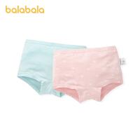 巴拉巴拉女童内裤四角棉儿童宝宝短裤中大童小童弹力平角裤两条装