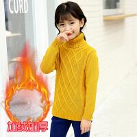 女童高领毛衣季加绒加厚打底衫韩版中大童针织衫纯棉套头毛线衣