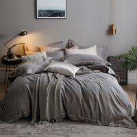 色加厚磨毛四件套棉棉简约秋冬季床单被套1.8m床上用品欧式