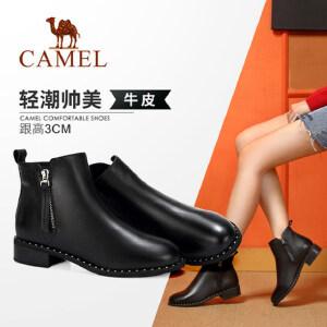 Camel/骆驼2018冬季新款 摩登时尚潮流简约英伦风短筒低跟女靴