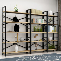 【满200减30】柏易 环保加固载重型钢木书架单架 加深加厚小户型多层书橱组合书架置物架货架展示架