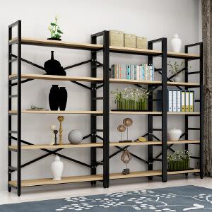 柏易 环保加固载重型钢木书架单架 加深加厚小户型多层书橱组合书架置物架货架展示架