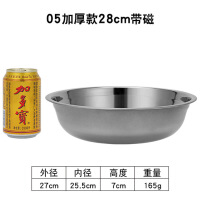 铁碗加厚圆形不锈钢盆子幼儿园食堂小铁碗厨房汤碗大号饭碗套装 28CM带磁汤盆-偏小1CM(5个装)