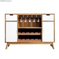 酒柜现代简约整装实木餐边柜电视柜旁边的储物柜客厅装饰展示柜子 双门