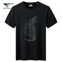 七匹狼T恤男2020夏季新款男士休闲印花体恤圆领短袖男装潮流上衣