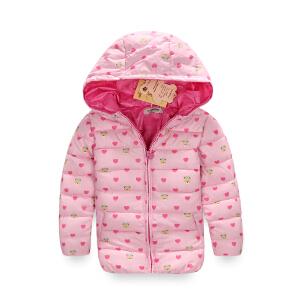 【满200-110】binpaw2017冬季加厚保暖连帽女童运动儿童棉服女童棉袄外套