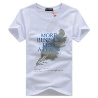 新款夏季品牌潮男装男式羽毛短袖t恤 男士半袖韩版T恤
