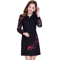 连衣裙女秋冬2018新款女装韩版长袖有女人味的阔太太气质大码裙子
