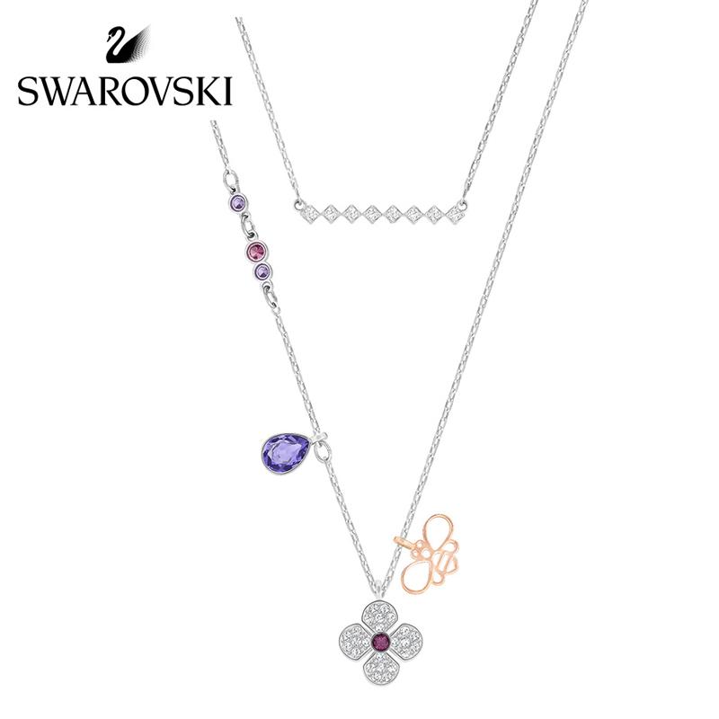 SWAROVSKI/施华洛世奇 Glowing新品可变二合一女项链套装礼物 蜜蜂花朵5273297正品保障(可使用礼品卡)