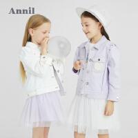 【1件5折价:179.5】安奈儿女童牛仔外套春秋洋气童装2021新款时髦女孩夹克韩版潮上衣