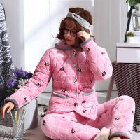 睡衣女士冬季三层加厚夹棉袄珊瑚绒法兰绒韩版甜美可爱保暖家居服