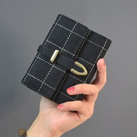 短款女士钱包可爱日韩版约零钱包大钞夹搭扣小钱包2018学生新款