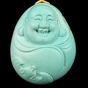 原矿高瓷高蓝绿松石弥勒佛吊坠 重13.55g(含链)