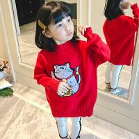 女童毛衣套头2018春季新款男童红色儿童针织打底衫宝宝大童装线衣 红色