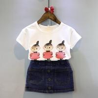 韩版女童装儿童宝宝卡通短袖T恤+牛仔裙两件套装2018夏装新款潮款 图色