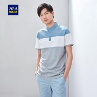 HLA/海澜之家撞色条纹短袖POLO2019夏季新品拼接半开襟POLO男