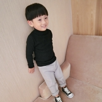 男童毛衣套头秋款韩版半高领针织衫黑色加绒女童宝宝白色打底衫 (全身加绒)