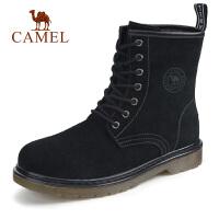 camel骆驼男鞋 秋季新款时尚高帮工装靴厚底反绒耐磨工装靴子男
