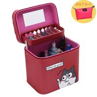 简约少女心韩国化妆师化妆包卡通大容量双层化妆箱手提护肤品方形收纳盒