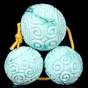 原矿高瓷高蓝绿松石回纹珠套装