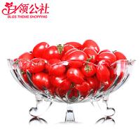 白领公社 果盘 多功能水晶玻璃创意欧式现代家用客厅茶几大号水果盆水果碗水果盘