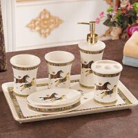陶瓷卫浴五件套 欧式洗漱套装 卫生间浴室用品套件牙具漱口杯套装
